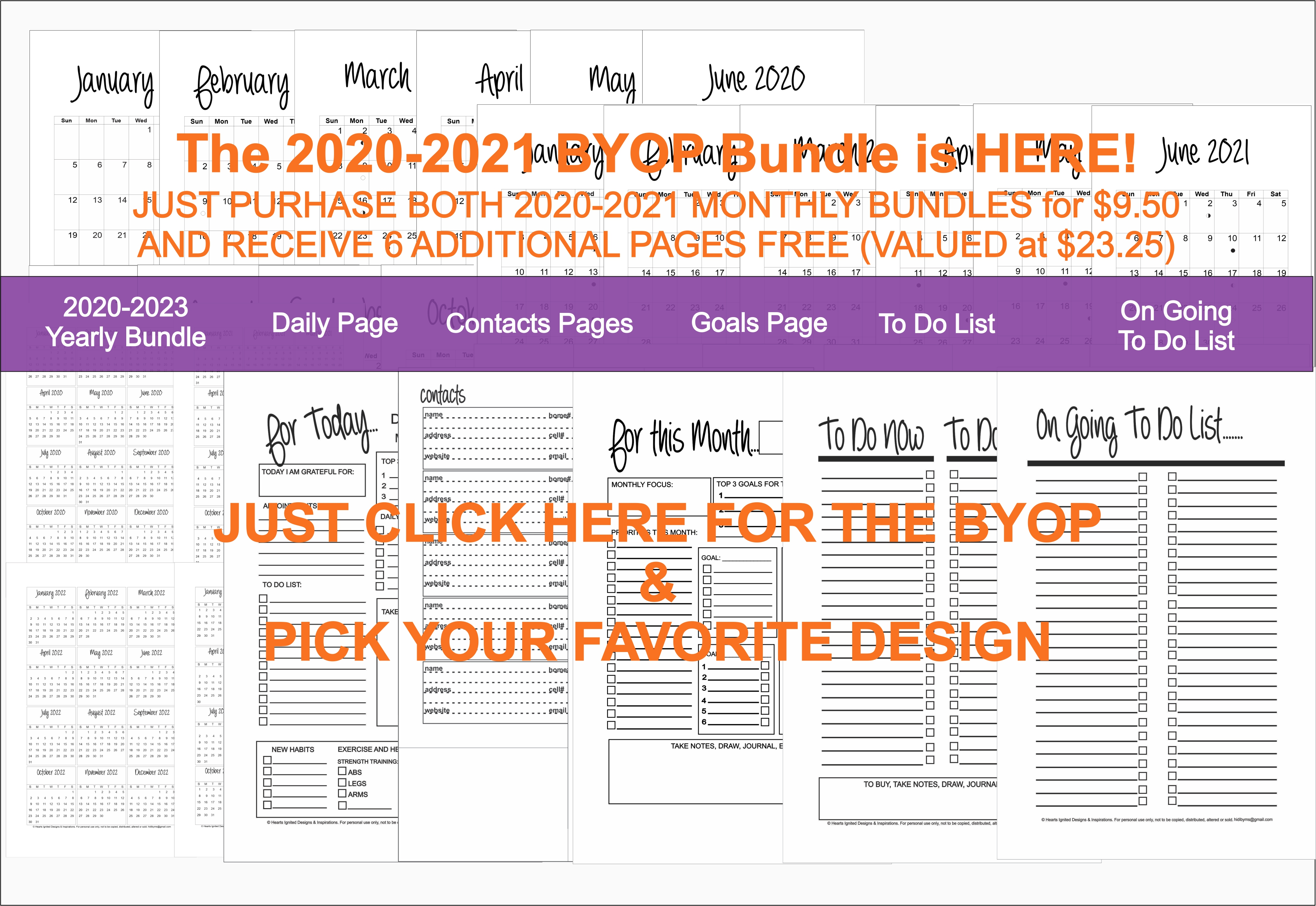 2020-2021 BYOP Bundle in the Fancy Script - Classic (Half Size 8.5 x 5.5)