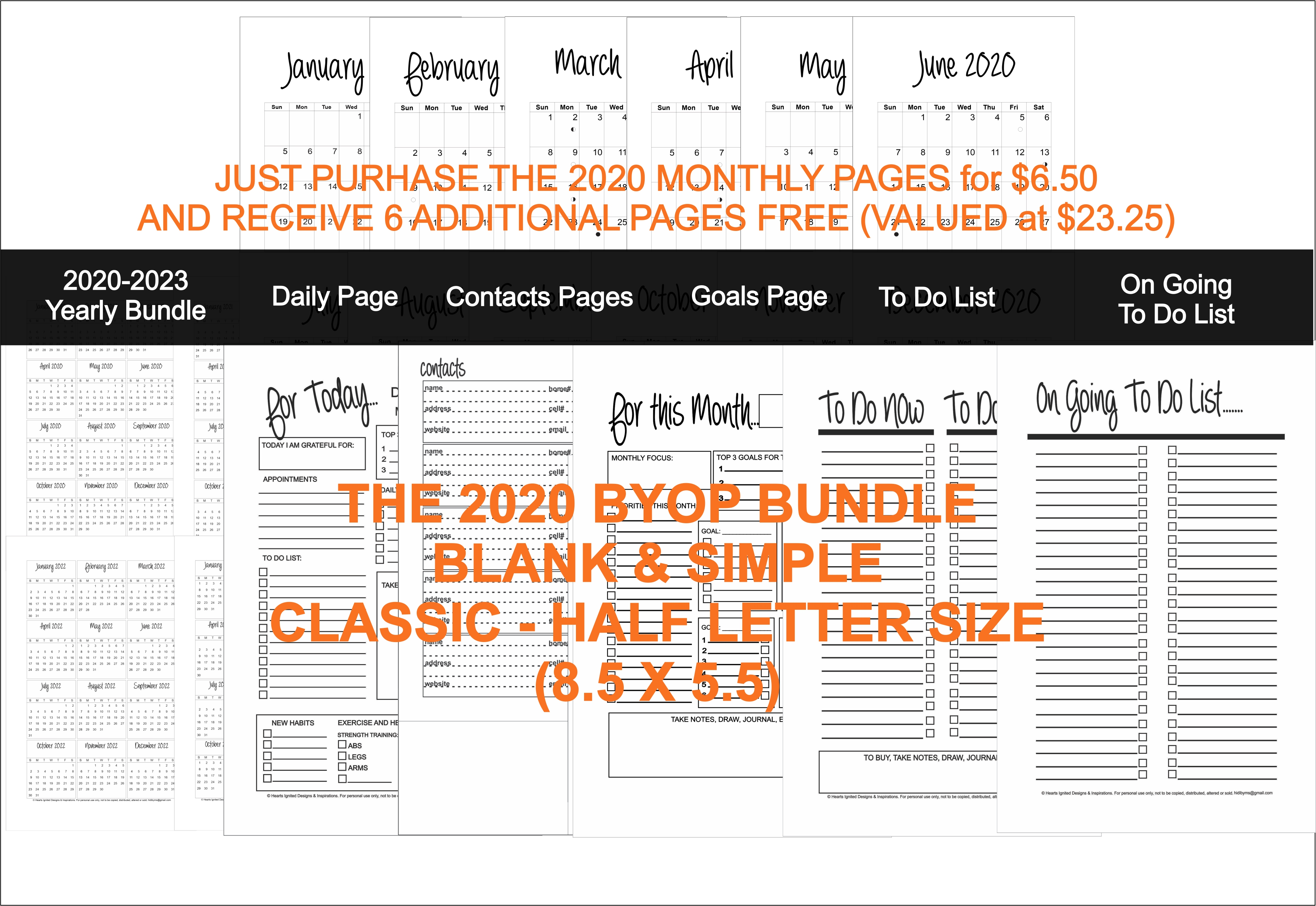 2020 BYOP Bundle in the Blank and Simple - Classic (Half Size 8.5 x 5.5)