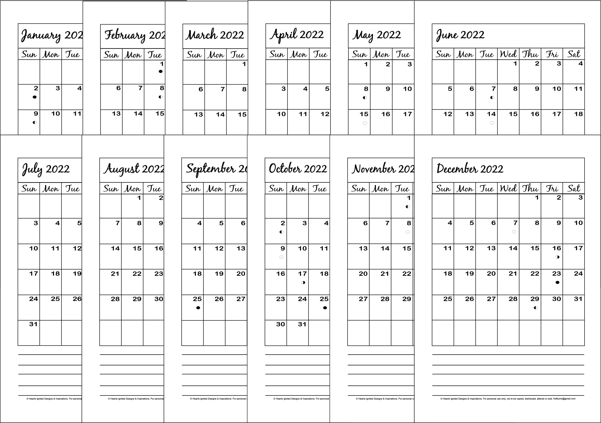 NEW for 2021 - 2022 12-Month Planner Bundle Classic (Half Size 8.5 x 5.5)