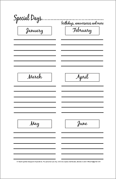 NEW for 2021 - Special Days Planner Bundle - Classic (Half Size 8.5 x 5.5)