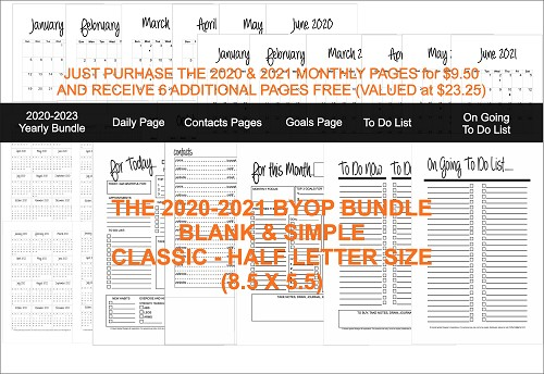 2020-2021 BYOP Bundle in the Blank and Simple - Classic (Half Size 8.5 x 5.5)